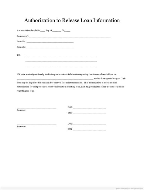 Release Authorization Letter Free Printable Loan Authorization Form Pdf Word