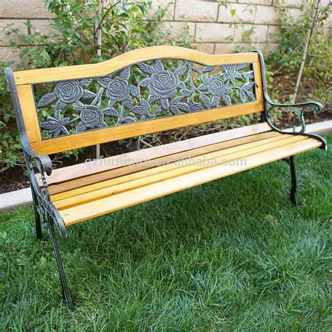 cast bench rose pattern modern garden benches cheap cast iron wood