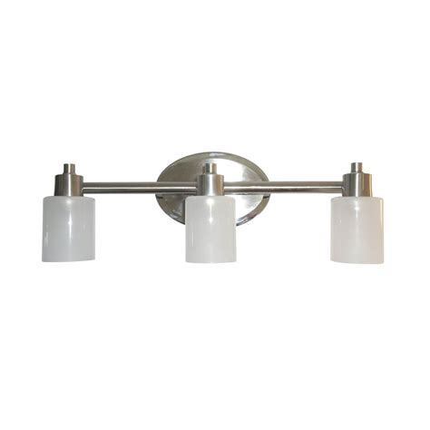 Bathroom Lighting Fixtures Lowes Shop Style Selections 3 Light Style Selection Brushed Nickel And Chrome Bathroom Vanity Light At