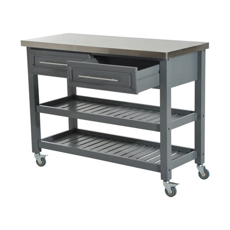 stainless steel kitchen island on wheels homcom country style kitchen island rustic rolling storage cart on wheels with stainless steel