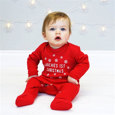how to take baby frist christmas pictures personalised snowflake sleepsuit by sparks clothing notonthehighstreet