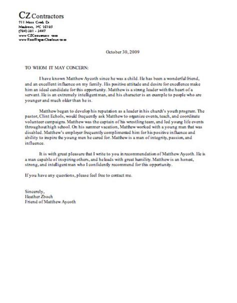 Reference Letter Template For A Friend Letter Of Reference