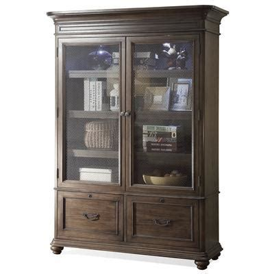 closed bookcase with glass doors riverside furniture belmeade large bookcase w glass doors