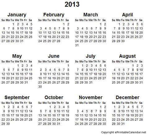 yearly calendar 2013 printable 7 gbp