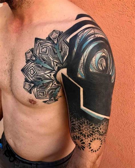 tattoo ideas for young men shoulder chest blackwork