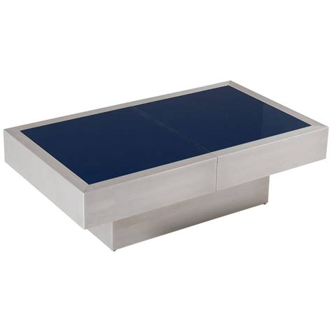 extendable cocktail table with blue glass top for sale at