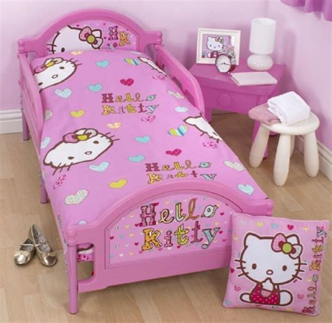 hello kitty bed hello kitty pink junior toddler cot bed duvet set quilt