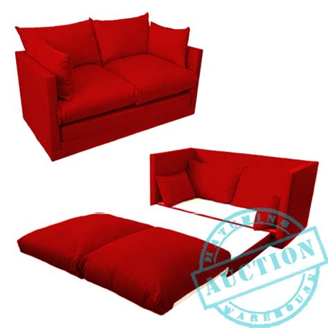 2 piece futon mattress red fold out 2 seater small sofa sofabed double guest bed
