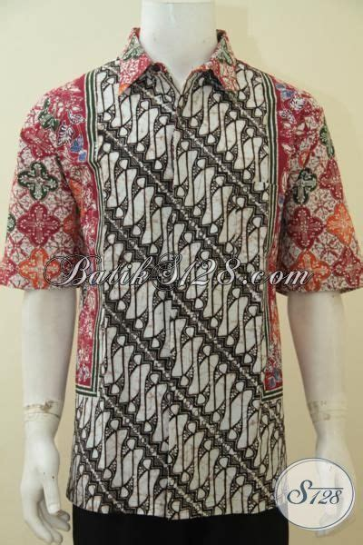Kemeja Batik Pria Motif Wayang Garis batik hem modis dan gaul dengan kombinasi dua motif di