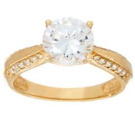 diamonique 2 00ct solitaire ring 14k gold qvc