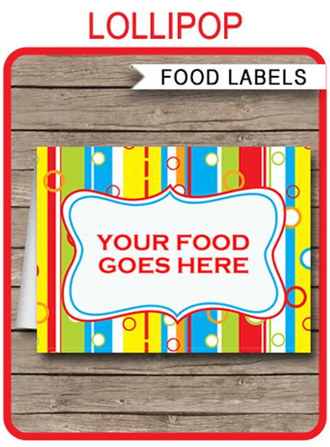 colorful food labels place cards printable birthday