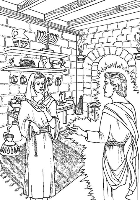 mary and the angel coloring page kids coloring