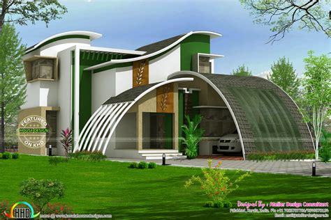 Home Designs Pictures | flowing style curvy roof home plan kerala home design