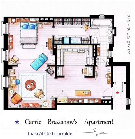 carrie bradshaw apartment floor plan awesome sitcom floorplans flats awesome and floors