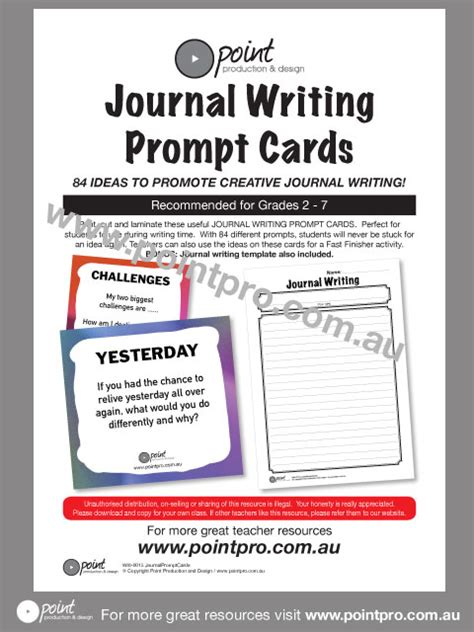 prompt cards template journal writing prompt cards point production and design
