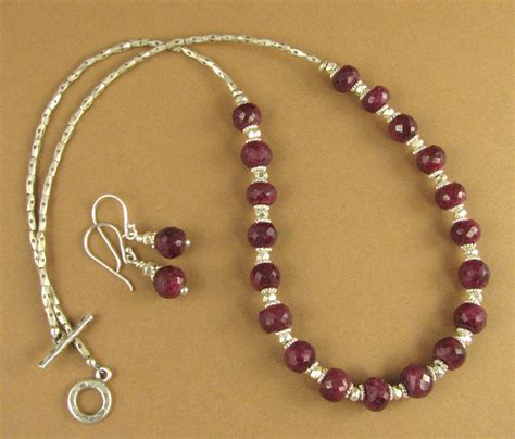 Handcrafted Silver Necklaces - ruby and silver necklace and earrings set and