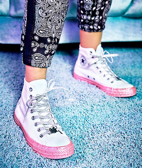 Harga Converse X Miley Cyrus converse x miley cyrus white pink glitter high top shoes