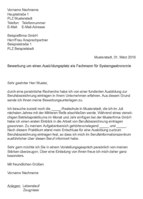 Anschreiben Ausbildung Systemgastronomie Muster Gt Bewerbung Als Fachmann Fachfrau F 252 R Systemgastronomie
