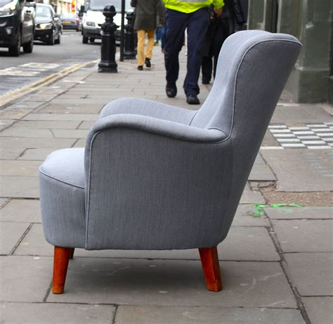 Small Scale Armchairs by Beautiful Grey Small Scale Wingback Armchair At 1stdibs