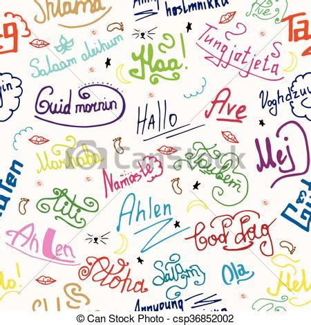 colors in different languages seamless texture greetings in different languages
