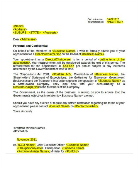 Business Letter Format To Ceo Appointment Letter Template 31 Free Word Pdf Documents Free Premium Templates