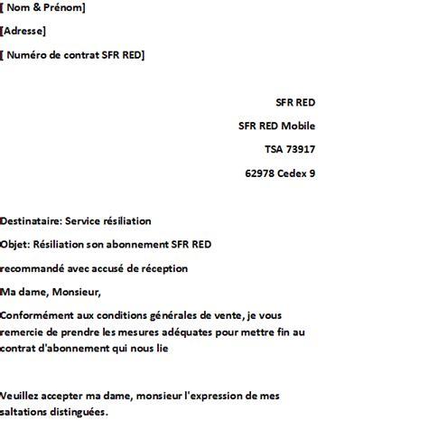 Lettre De Résiliation Free Sans Engagement Comment R 233 Silier Abonnement Sfr
