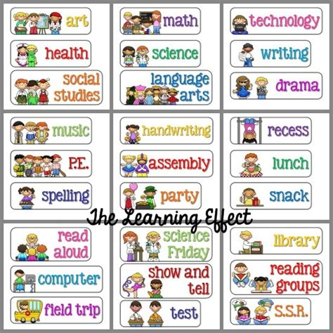 free classroom picture card templates printable 5 best images of visual classroom schedule printables
