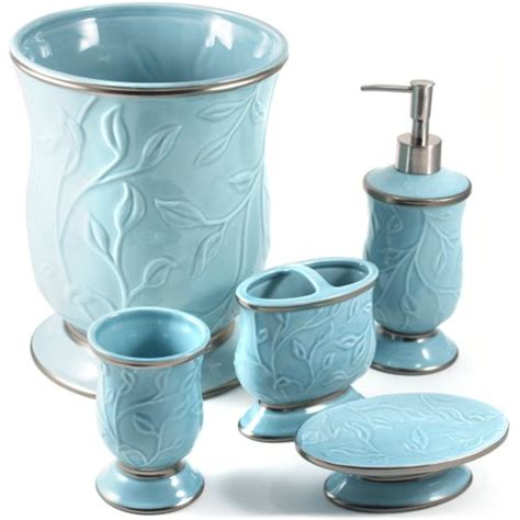 ceramic bathroom accessories sets saturday knight ltd seafoam blue ceramic 5 piece bathroom