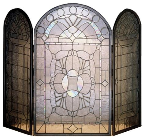 modern glass fireplace screen beveled glass clear folding fireplace screen