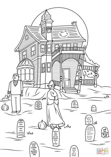spooky haunted house photo by jon seidman coloring page