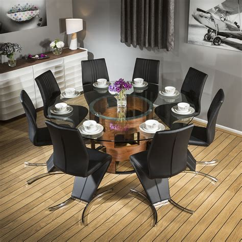 Glass Dining Table 8 Chairs Stunning Glass Top Walnut Dining Table 8 Black Z Chairs 601 Ebay