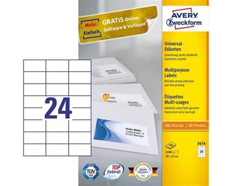 Etiketten 70 X 37 Mm Vorlage by 2400 Etiketten Wei 223 70 X 37 Mm Von Avery Zweckform
