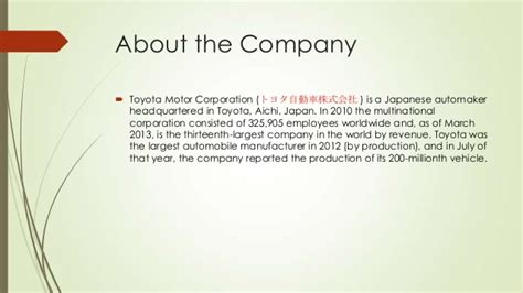 Toyota Mission Toyota Mission And Vision