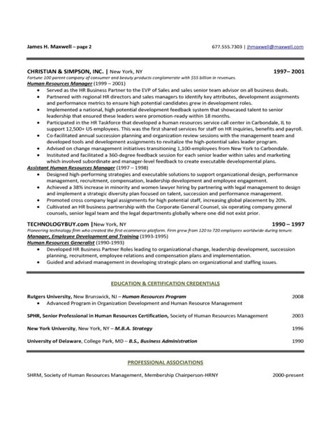 free hr executive resume sles human resources executive resume sle free
