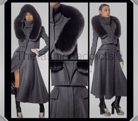 high end collars jacket grey coat trench coat fur collar fashion high end wheretoget