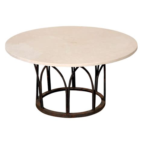 Wrought Iron Coffee Table Base Limestone Top Coffee Table With Black Painted Wrought Iron Base At 1stdibs