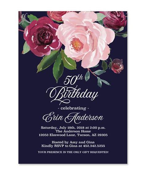 dark floral adult birthday invitation navy blue burgundy