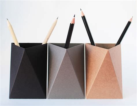 Origami Pencil Cup - 3box black grey brown origami paper box desk pen holder