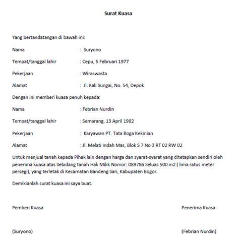 Contoh Surat Kuasa Pengurusan Pajak by Surat Kuasa Lengkap Untuk Berbagai Keperluan Seruni Id