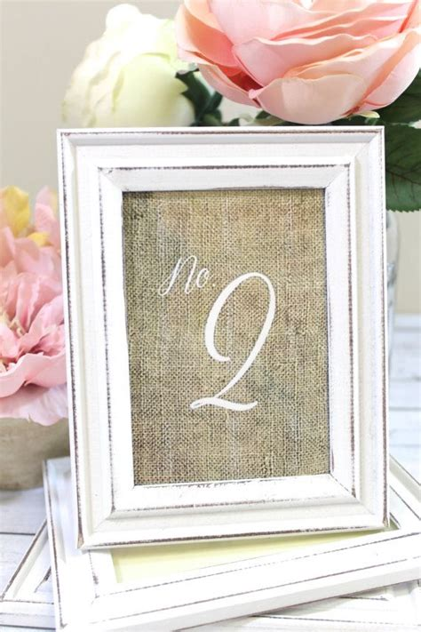 rustic shabby chic wedding frames with burlap table numbers