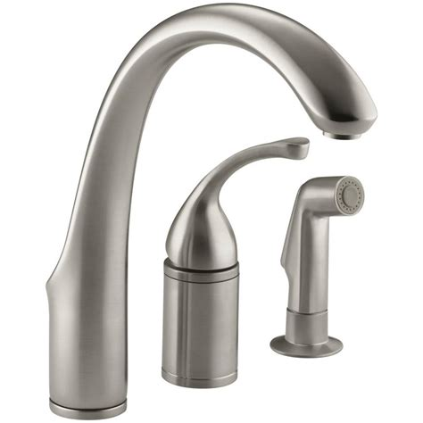 kohler single handle kitchen faucet kohler forte single handle standard kitchen faucet with side sprayer in vibrant brushed nickel k