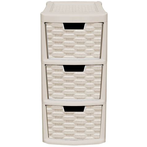 rattan style plastic small 3 drawer tower storage unit for