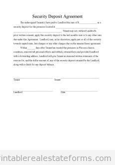 Security Deposit Receipt Template And Disclosure by Free Security Deposit Agreement Printable Real Estate