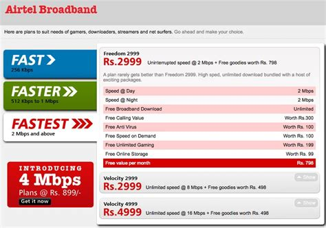 airtel broadband home plans for unlimited