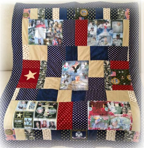 remembering quilt with 5 fabric collages up to 8 photos on