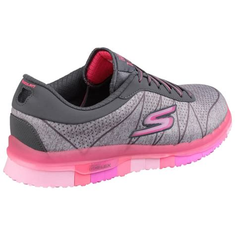Pink Grey Shoes skechers go flex ability lace up grey pink shoes co uk