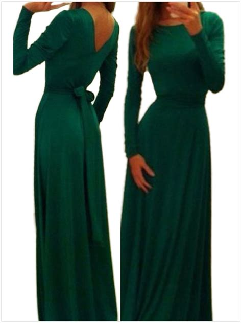Trand Maxi Zamirah 3in1 Green New 2015 new arrival fashion sell o neck sleeve green emerald belted v neck back maxi dress