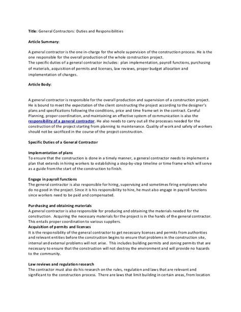 general contractors duties and responsibilities