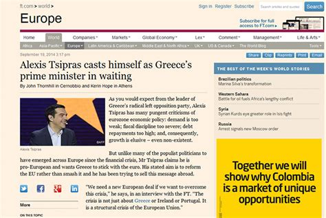 Financial Times Letter Tsipras