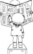leen periódico dibujo - imágenes para colorear - clipart
